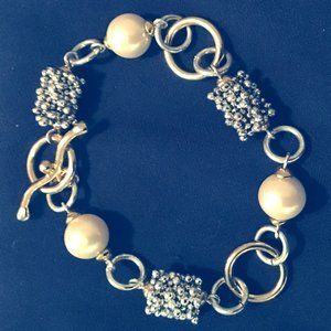 Pearl and Silver Toggle Bracelet